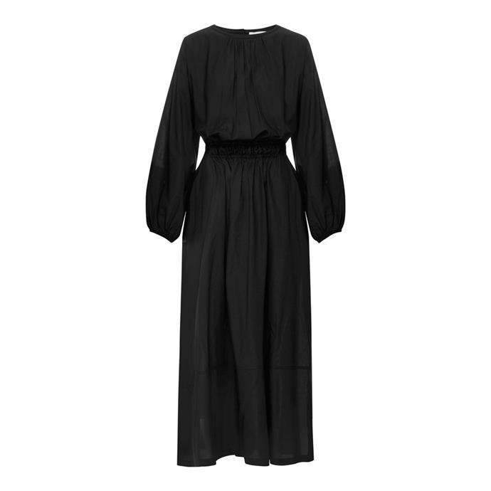 "Dress by Matteau, $540 at [The Undone](https://www.theundone.com/products/long-sleeve-split-dress-black|target=""_blank""|rel=""nofollow"")."