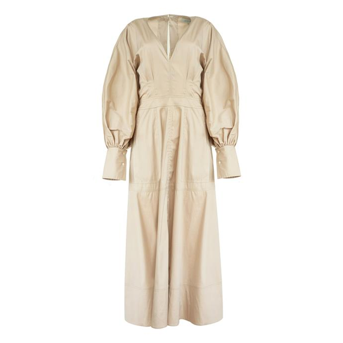 """Dress by Lee Mathews, $599 at [The Undone](https://www.theundone.com/collections/dresses/products/elsie-v-neck-l-s-dress-taupe
