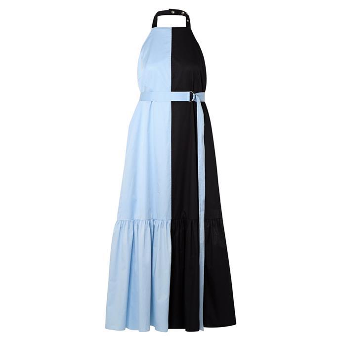 "Dress by Tibi, $937 at [NET-A-PORTER](https://www.net-a-porter.com/au/en/product/1151971/tibi/two-tone-coated-cotton-poplin-halterneck-midi-dress|target=""_blank""|rel=""nofollow"")."
