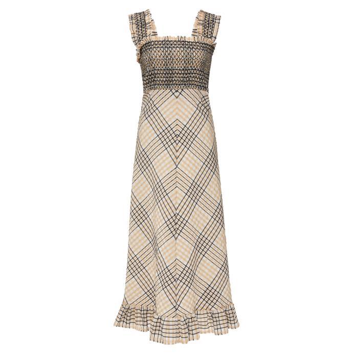 "Dress by Ganni, $315 at [Moda Operandi](https://www.modaoperandi.com/ganni-pf19/smocked-seersucker-midi-dress|target=""_blank""|rel=""nofollow"")."
