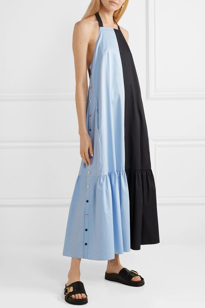"Dress by Tibi, $937 at [NET-A-PORTER](https://www.net-a-porter.com/au/en/product/1151971/tibi/two-tone-coated-cotton-poplin-halterneck-midi-dress|target=""_blank""|rel=""nofollow""). <br><br> *Image via NET-A-PORTER.*"