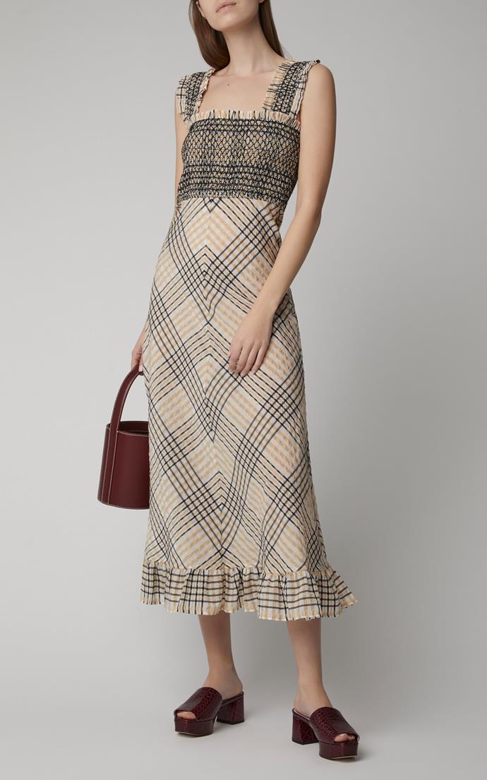 "Dress by Ganni, $315 at [Moda Operandi](https://www.modaoperandi.com/ganni-pf19/smocked-seersucker-midi-dress|target=""_blank""|rel=""nofollow"").<br><br> *Image via Moda Operandi.*"
