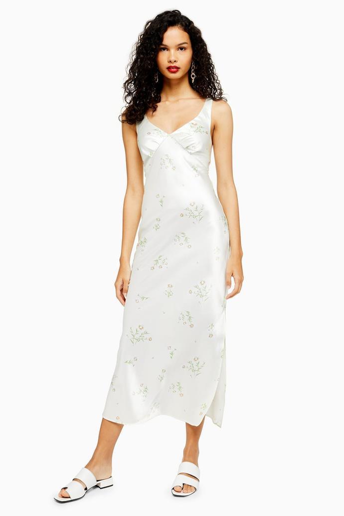 "Slip dress, $71 by [Topshop](https://www.topshop.com/en/tsuk/product/clothing-427/dresses-442/daisy-print-slip-midi-dress-8838341|target=""_blank""|rel=""nofollow"").<br><br> *Image via Topshop.*"