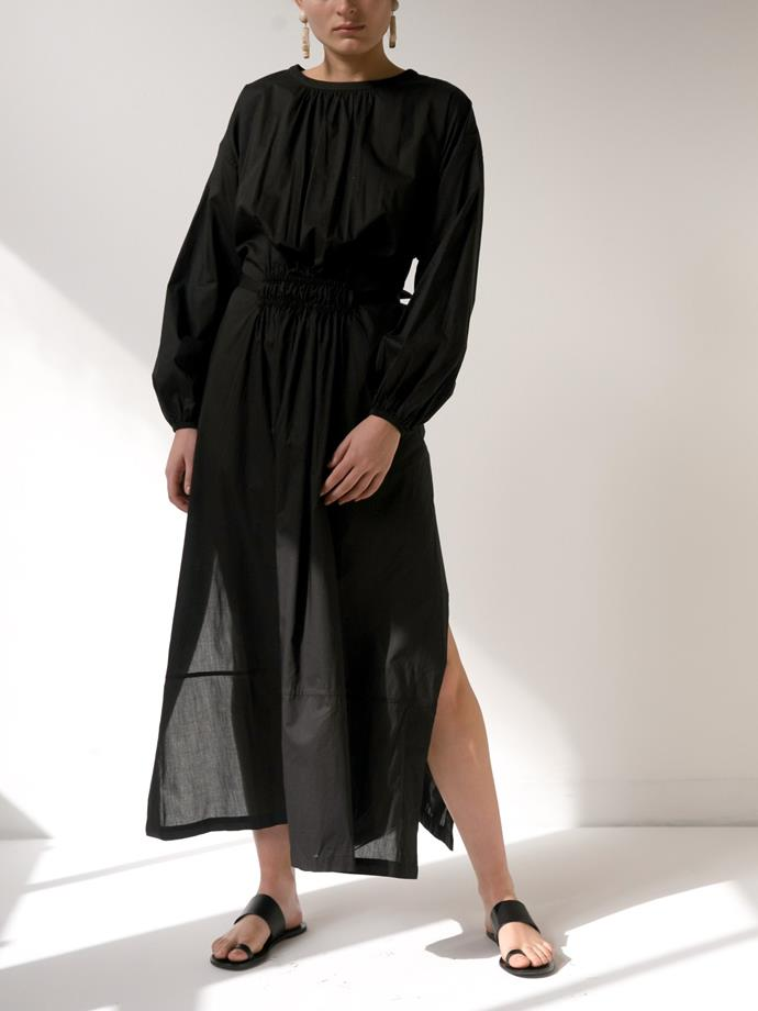"""Dress by Matteau, $540 at [The Undone](https://www.theundone.com/products/long-sleeve-split-dress-black