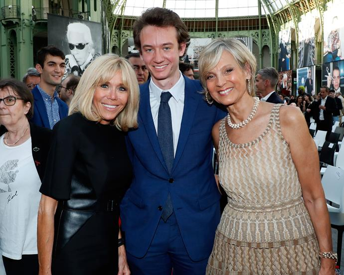 First Lady Brigitte Macron with Frederic Arnault and Helene Arnault.