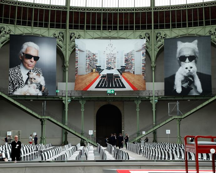The Grand Palais was surrounded by photographs of Karl, with his cat, Choupette.