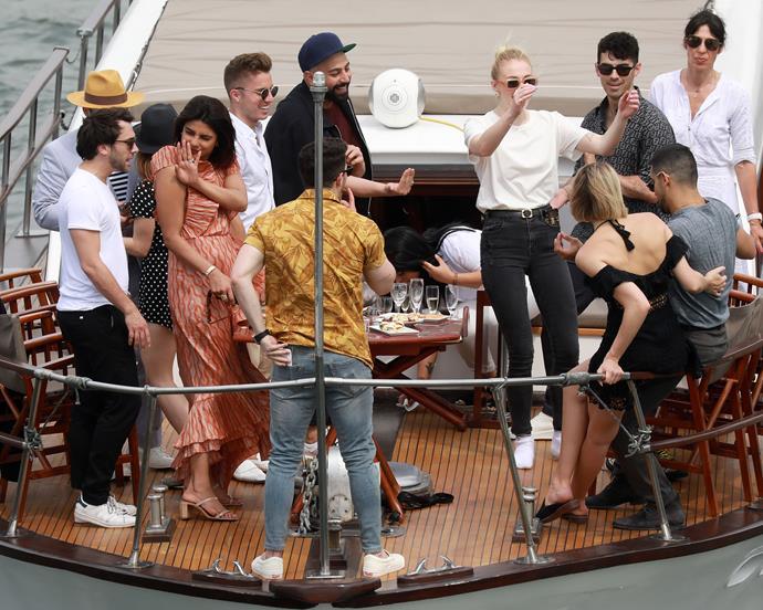 Joe Jonas and Sophie Turner party with Priyanka Chopra, Nick Jonas, and other friends.