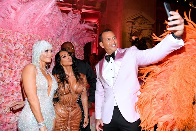 Alex Rodriguez (far right) snaps a selfie with (from left) wife-to-be J.Lo, Kim Kardashian West and Kanye West.