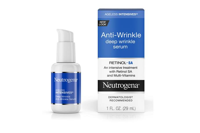 "**Ageless Intensives Deep Wrinkle Serum, $29.99 at [Neutrogena](https://www.neutrogena.com/skin/skin-moisturizers/ageless-intensives-anti-wrinkle-deep-wrinkle-serum/6806151.html|target=""_blank""