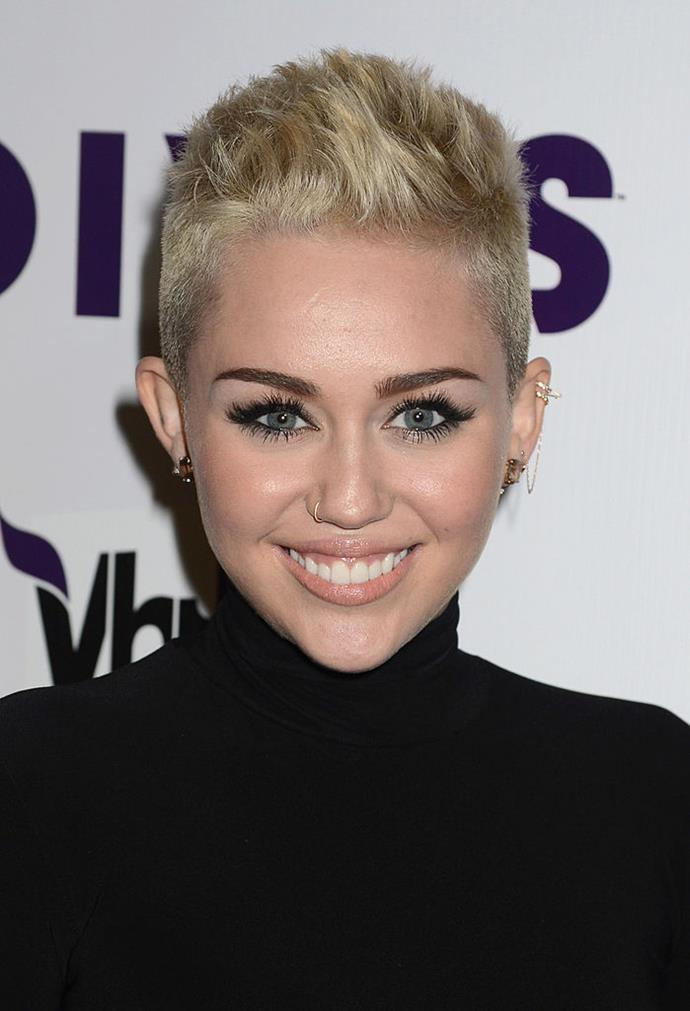 **Miley Cyrus' platinum boy buzz:** Few could forget when Miley boldly went where few pop stars (bar Madonna) had gone before and buzzed off her long hair into a platinum pixie.