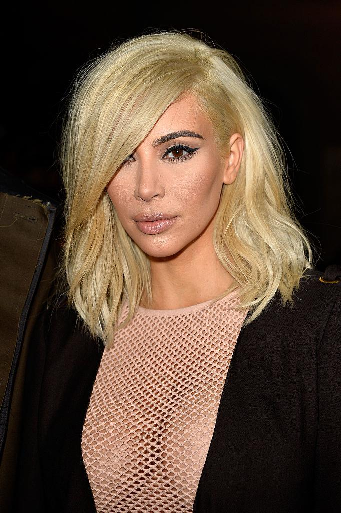 **Kim Kardashian's first dip in the platinum pool:** Famous brunette Kim shocked plenty of us when she stepped out for 2015 Paris Fashion Week with this bright-blonde shade. Since then, of course, she's been to blonde and back countless times.