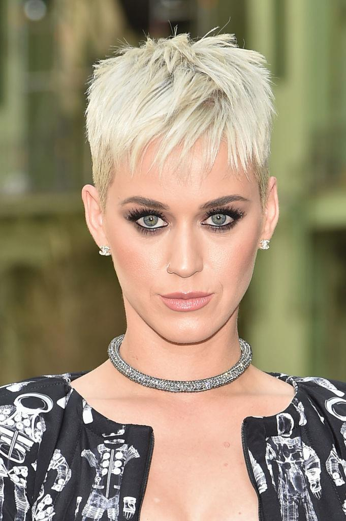 **Katy Perry's pixie cut:** The pop star seemed to have had perpetually long, black hair when she cut if off into this platinum pixie almost overnight in April 2017. She only recently went back to longer locks.