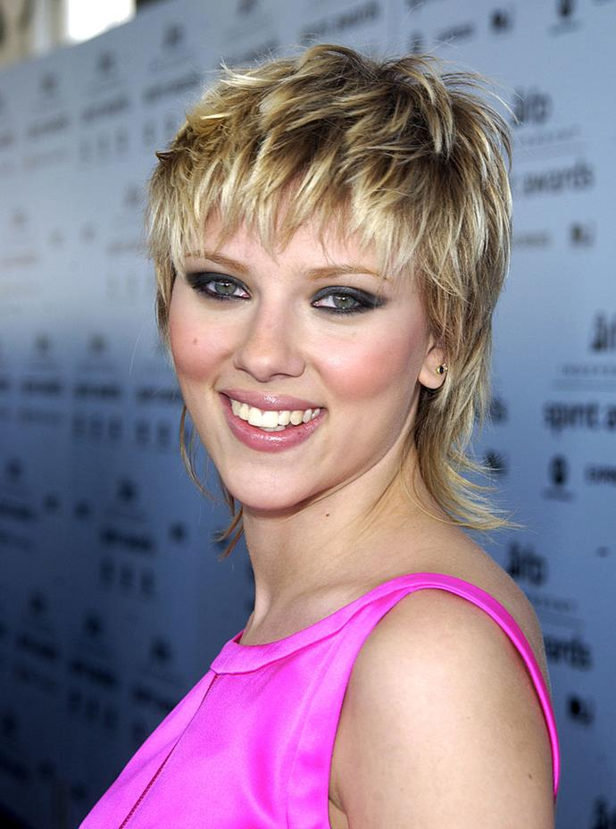 **Scarlett Johansson's mullet:** The movie bombshell decided to change things up in 2003 when she opted for this statement-making shag cut.