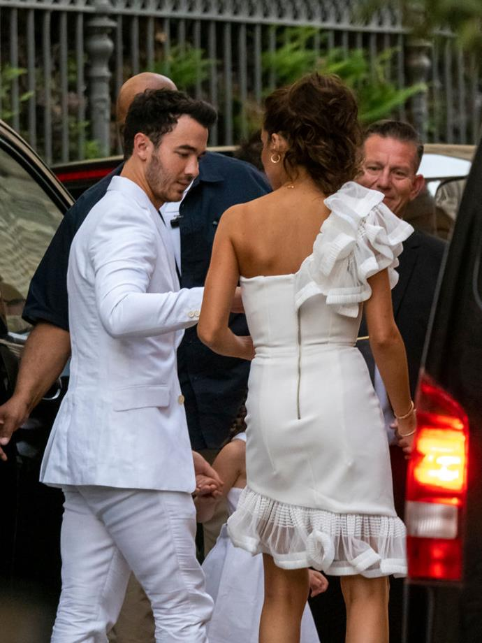 Kevin and Danielle Jonas head to the rehearsal dinner.