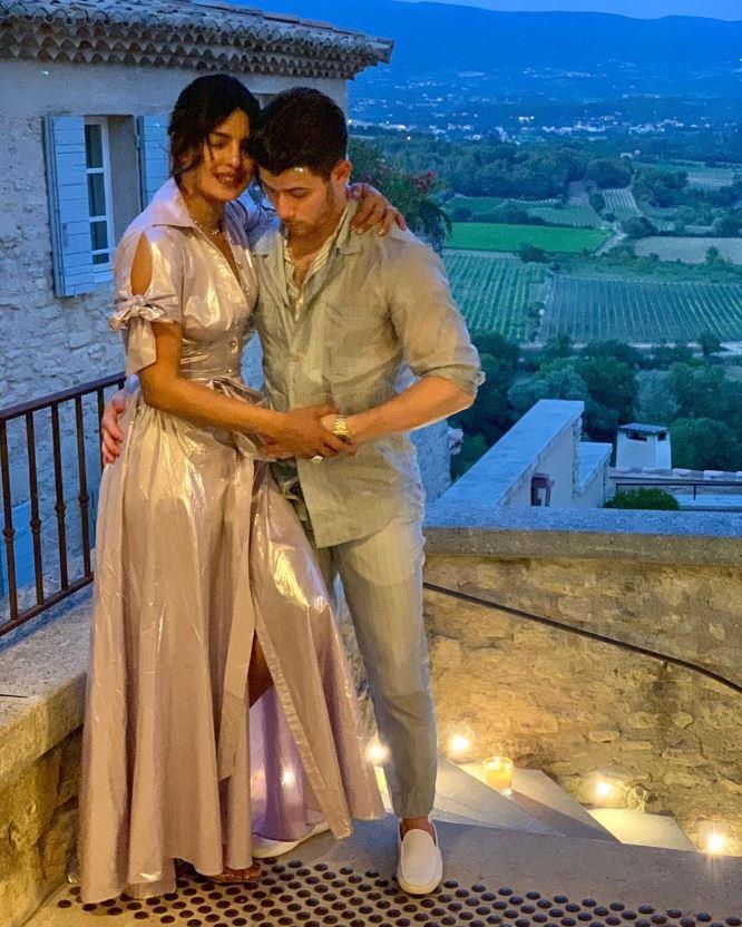 Priyanka Chopra and Nick Jonas at a pre-wedding event.