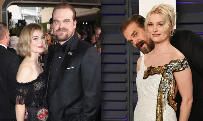 "**David Harbour** <br><br> Harbour's love life has been the subject of intense speculation from *Stranger Things* fans, and he's currently dating *Fantastic Beasts And Where To Find Them* actress Alison Sudol. You'll also be surprised to know that Harbour once dated *10 Things I Hate About You* actress Julia Stiles. For more on his current girlfriend and his celebrity exes, click [here](https://www.elle.com.au/celebrity/david-harbour-girlfriends-15677|target=""_blank""). <br><br> *Images: Getty*"