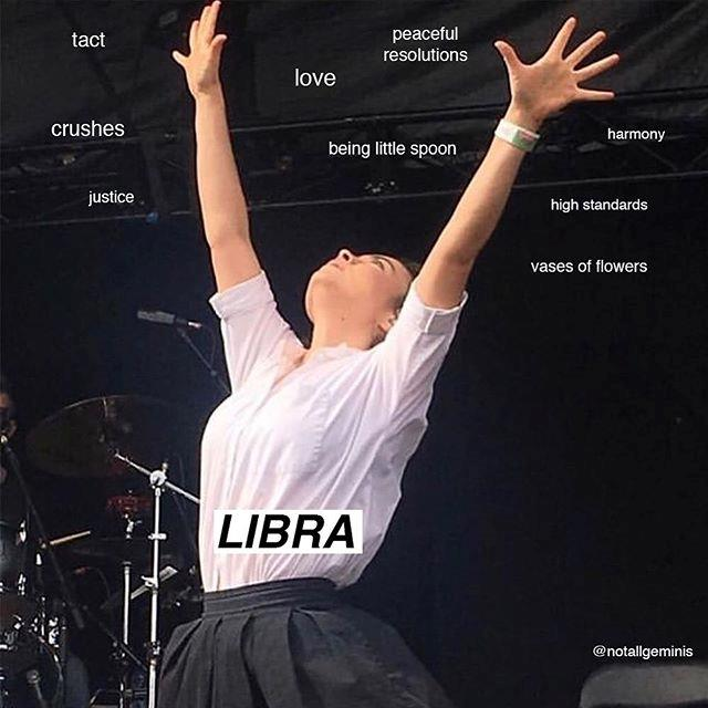 "**Libra** <br><br> Like Aquarians, Librans are quirky and peaceful, albeit slightly less standoffish. Considering how carefree they are, they should try to snap into organisation mode over the coming month, as Mercury in Retrograde has the potential to send us into disarray. <br><br> *Image: Instagram [@notallgeminis](https://www.instagram.com/p/BxvVN0slEyu/|target=""_blank""