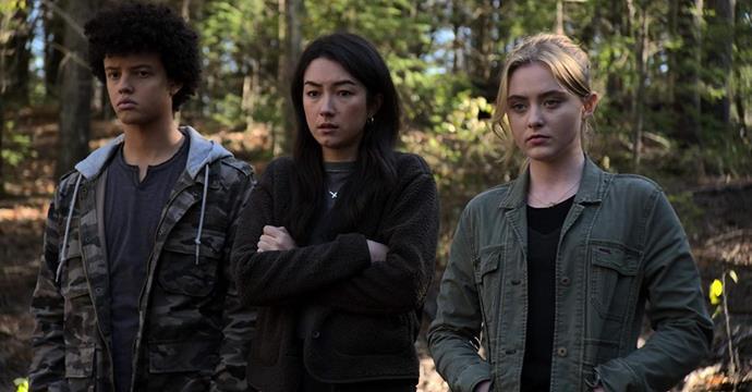 Jacques Colimon, Natasha Liu Bordizzo, and Kathryn Newton in *The Society*.
