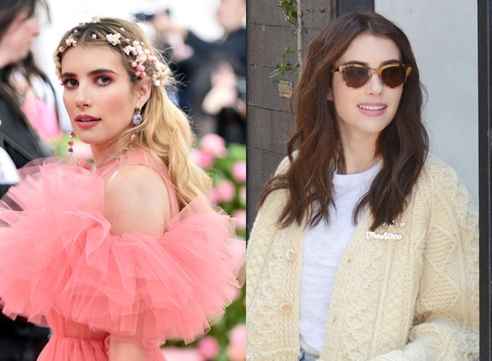 **Emma Roberts:** Bye-bye, blonde. After months of rocking a creamy blonde ombre, Emma Roberts has debuted a new chocolate brown update.