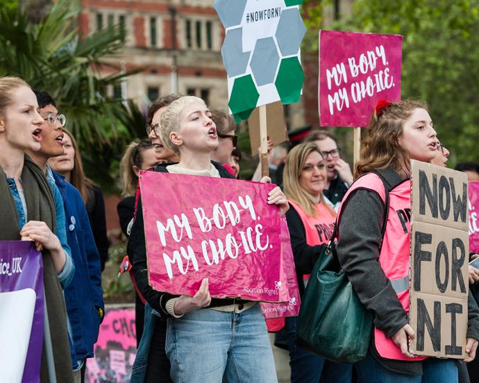 Activists marching for Northern Ireland's abortion rights in London, May 2019.
