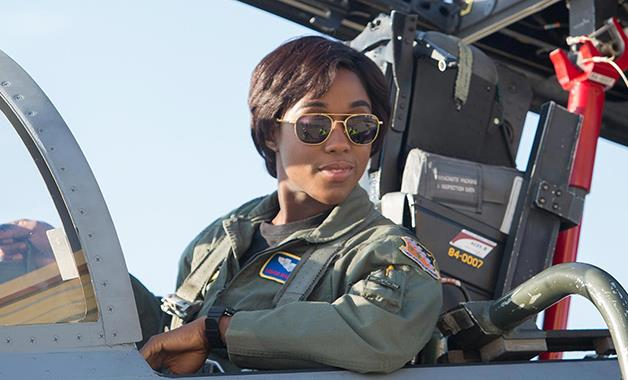 Lashana Lynch as Maria Rambeau in 'Captain Marvel'.