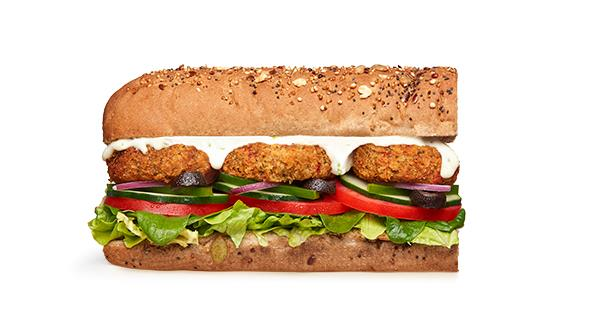 **The Veggie Delite or Smashed Falafel at Subway**<br> <br>  Spice it up with sweet chilli, BBQ or tomato sauce.