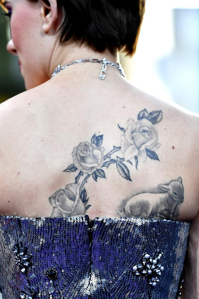 Scarlett Johansson has this surprisingly large combination of roses and a lamb.