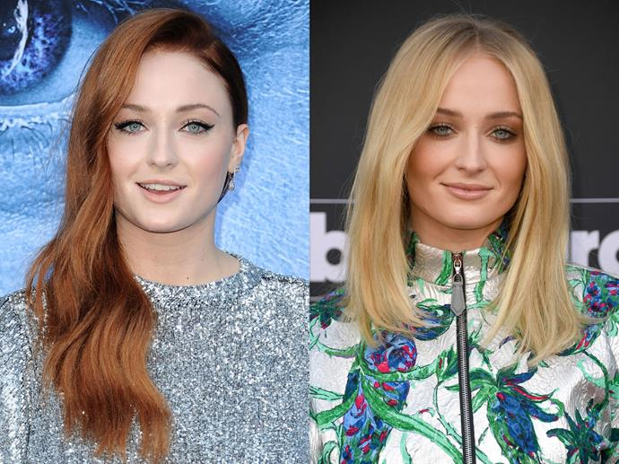 "**Sophie Turner**<br><br>  Despite Sansa Stark's signature fiery locks, Sophie Turner's real tresses are actually blonde. In order to maintain the ginger hue while filming the show, she had to dye it [*every* week](https://www.elle.com.au/beauty/sophie-turner-sansa-stark-hair-dye-13512|target=""_blank"") to keep up the colour. Phew."