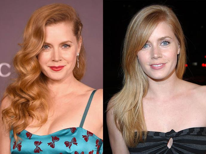 "**Amy Adams**<br><br>  Amy Adams has been on the red hair bandwagon for so long, there's nary a picture of her out there with her natural blonde hair! She has, however, spoken about how going from blonde to red was a huge factor in [changing her career](https://www.harpersbazaar.com.au/beauty/actresses-career-changing-hair-16378|target=""_blank"") in Hollywood.<br><br>  ""The minute I went red, it was like, 'quirky' instead of flirtatious and dumb,"" she [said](https://www.allure.com/story/amy-adams-red-hair-successful