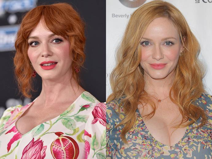 "**Christina Hendricks**<br><br>  Even though she became famous as fiery redhead Joan Holloway in *Mad Men*, the actress has actually been dyeing her hair since the [age of 10](https://www.instyle.com/news/christina-hendricks-going-blonde-after-20-years-red-im-loving-it|target=""_blank""