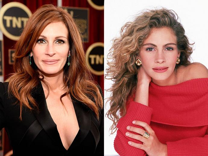 **Julia Roberts**<br><br>  Another actress whose red hair can be linked back to one of her most famous roles (*Pretty Woman*, anyone?), Roberts actually has a mane in tones of light to dark brown.
