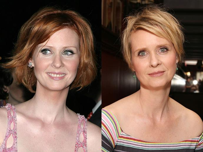 **Cynthia Nixon**<br><br>  *Sex and the City* star Cynthia Nixon also ranks in the redhead hall of fame, but like many of the actresses in this list, has naturally blonde hair.