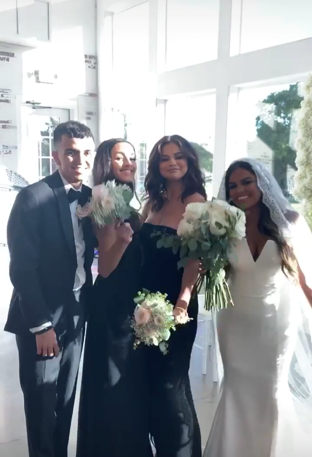 "**Selena Gomez** <br><br> Singer and beauty entrepreneur Selena Gomez played maid of honour for the wedding of her cousin and best friend, Priscilla DeLeon. The ""Same Old Love"" singer attended the event, wearing a stunning, black strapless gown."
