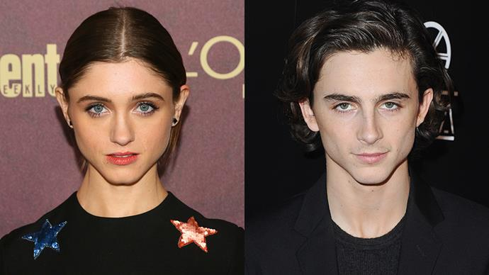 Natalia Dyer and Timothée Chalamet.<br><br> Thanks to their distinctive jawlines, Twitter-land is freaking out about how much Natalia Dyer from *Stranger Things* resembles our favourite internet boyfriend Timothée Chalamet.
