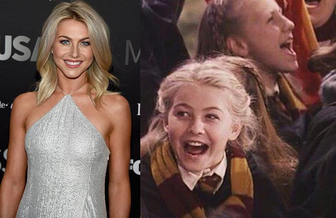 **Julianne Hough in *Harry Potter And The Philosopher's Stone*** <br><br> The American dancer and actress had a tiny part in the *Harry Potter* films as an enthusiastic spectator at a Quidditch match.