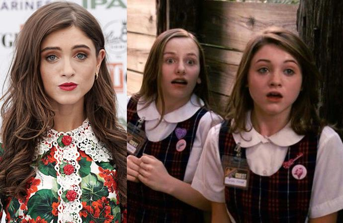 **Natalia Dyer in *Hannah Montana: The Movie*** <br><br> She hit the big-time when she was cast as Nancy in *Stranger Things*, but Dyer got her start playing a Hannah Montana fan girl alongside Miley Cyrus in the 2009 Disney film.