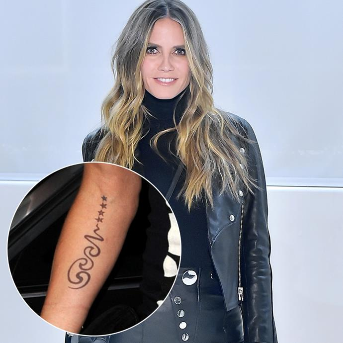 ***Heidi Klum***<br><br> Supermodel Heidi Klum had this spiral design tattoo inked on one of her and ex-husband Seal's vow renewals. After splitting from him in 2014, she had it lasered off.