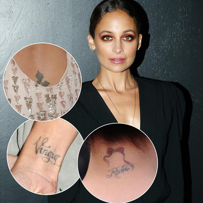 "***Nicole Richie***<br><br> Nicole Richie actually suffers from tattoo regret times three. Her ""butt-crack cross,"" ""Virgin"" tattoo (she's a Virgo), and ""Richie"" complete with bow are all on the regret-list. She has since gotten the cross removed."