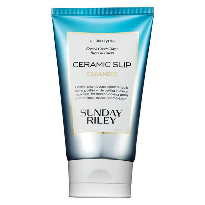 "Ceramic Slip Cleanser, $54, Sunday Riley at [Mecca](https://www.mecca.com.au/sunday-riley/ceramic-slip-cleanser/I-036035.html|target=""_blank"")."