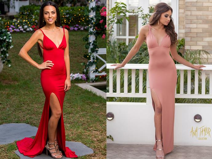 """Cassandra in the 'Arias' dress, $540 at [Amy Taylor Collection](https://amytaylorcollection.com/product/arias-2/