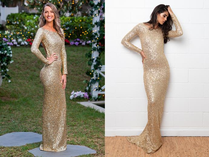 """Isabelle in the 'Golden Amour' gown, $1,800 at [Amy Taylor Collection](https://amytaylorcollection.com/product/golden-amore-gown/