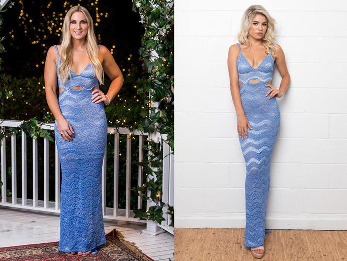 "Sam in the 'Oceans of Paradise' dress, $620 at [Amy Taylor Collection](https://amytaylorcollection.com/product/ocean-of-paradise/|target=""_blank""
