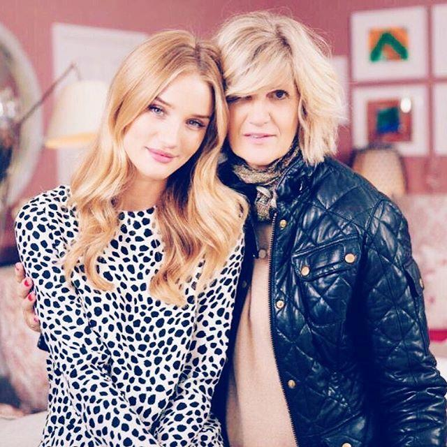 Rosie Huntington-Whiteley and her mother, Fiona.