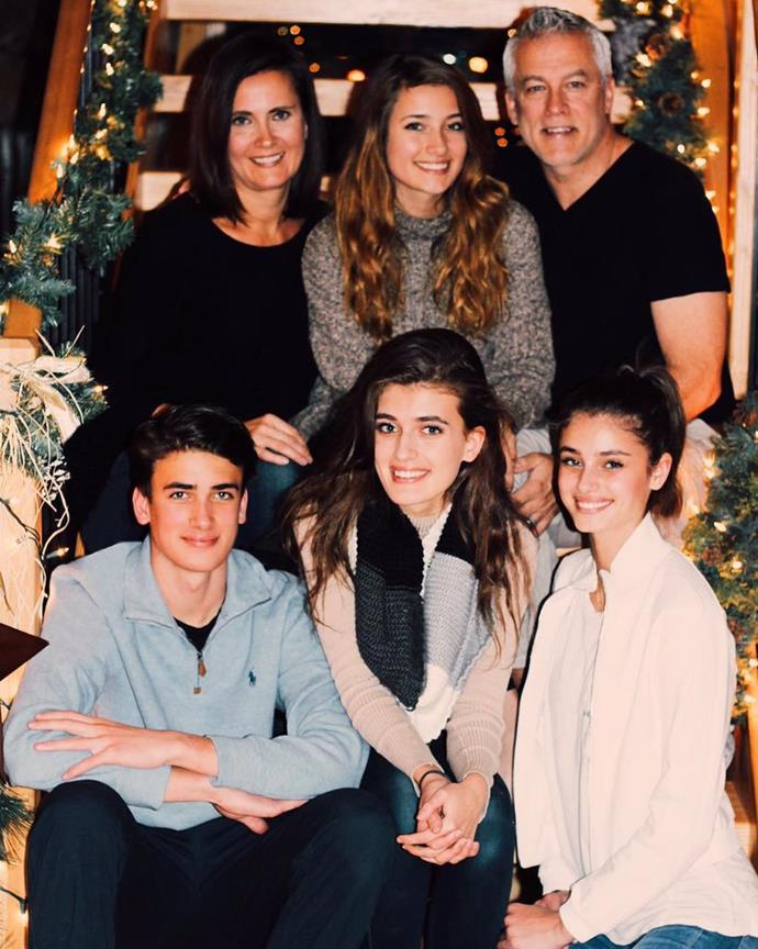 Taylor Hill (bottom right) with her mum Jen (top left), her dad David (top right) and her siblings.
