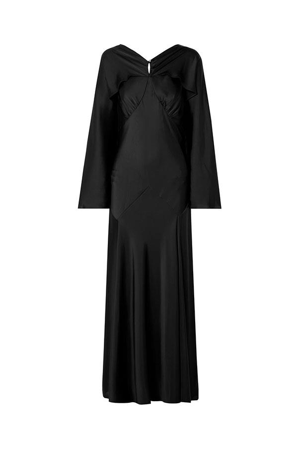 "Dress by Paco Rabanne, $1,323 at [Net-a-Porter](https://www.net-a-porter.com/au/en/product/1162849/paco_rabanne/draped-satin-maxi-dress|target=""_blank""