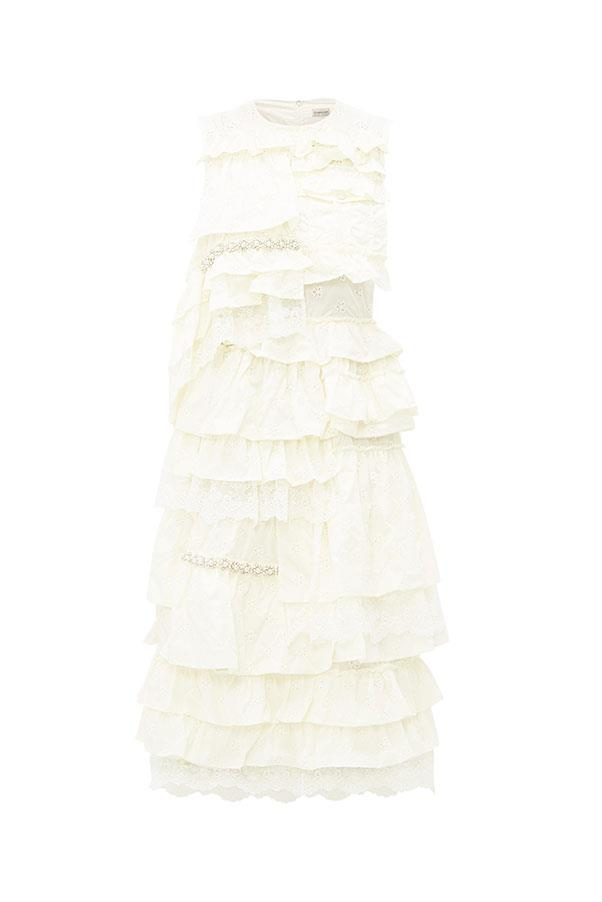 "Dress by 4 Moncler Simone Rocha, $3,110 at [MATCHESFASHION.COM](https://www.matchesfashion.com/au/products/4-Moncler-Simone-Rocha-Lace-trimmed-broderie-anglaise-ruffled-dress-1307597|target=""_blank""