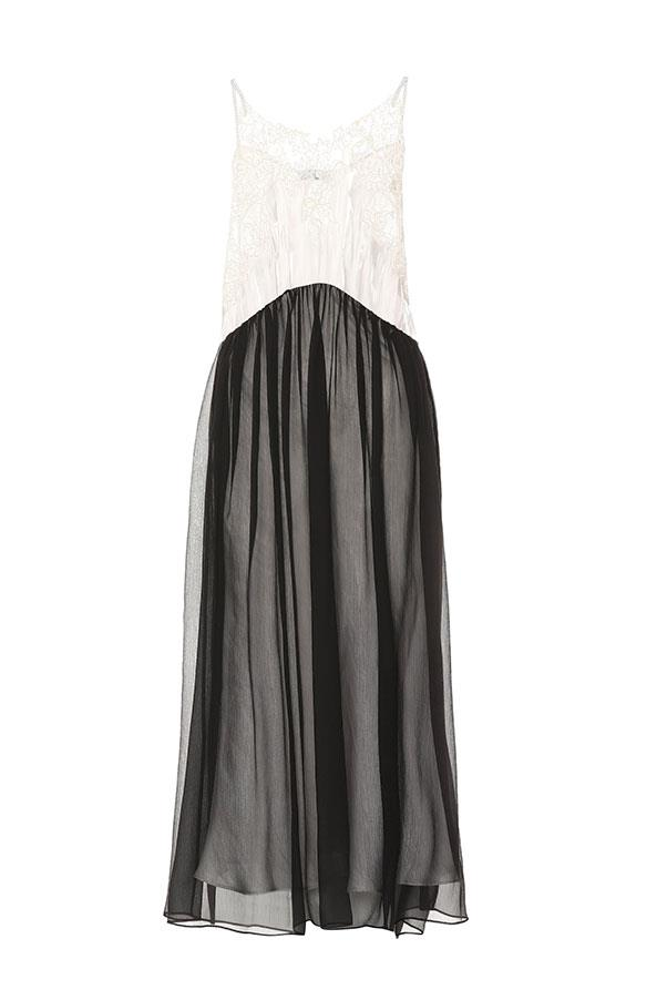 "Dress by Prada, $4,110 at [My Theresa](https://www.mytheresa.com/en-au/prada-charmeuse-and-chiffon-slip-dress-1193618.html?catref=category|target=""_blank""