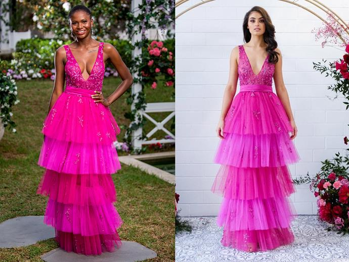 "Vakoo in the 'Athina' gown, $1,500 at [Reign the Label](https://reignthelabel.com/collections/reign/products/athina-gown|target=""_blank""