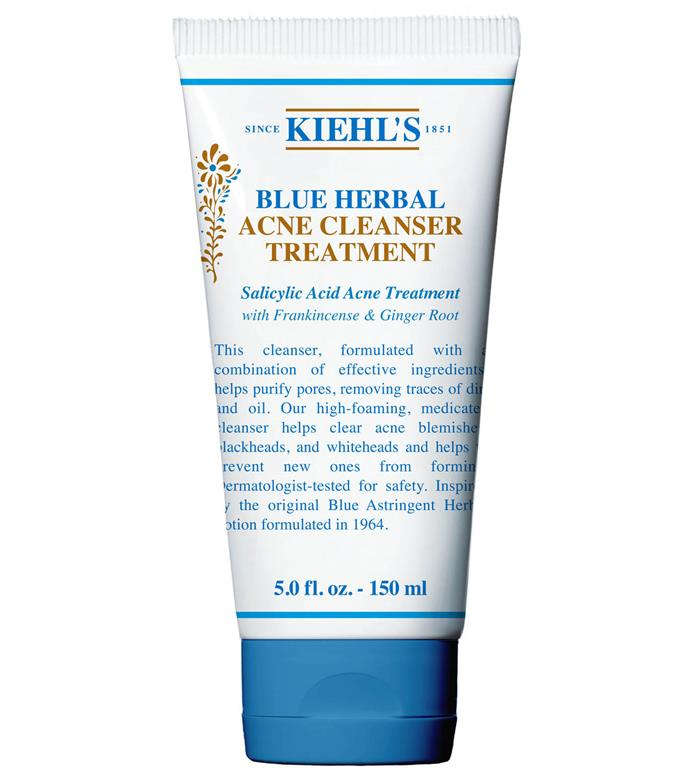 "**The celeb fave** <br><br> A brand synonymous with celebs (the Olsen twins and the Kardashian/Jenners, just to name a few), Kiehl's is a go-to brand for all skin types. This herbal cleanser combines potent anti-bacterial salicylic acid with soothing ginger root extract and frankincense for the best of both worlds. <br><br> Blue Herbal Acne Cleanser Treatment, $44 at [Kiehl's](https://www.kiehls.com.au/blue-herbal-gel-cleanser/544.html|target=""_blank"")"