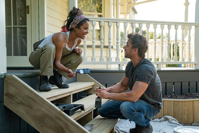 **Falling Inn Love (29/08/2019)** <br> When city girl Gabriela (Christina Milian) spontaneously enters a contest and wins a rustic New Zealand inn, she teams up with bighearted contractor Jake Taylor (Adam Demos) to fix and flip it.